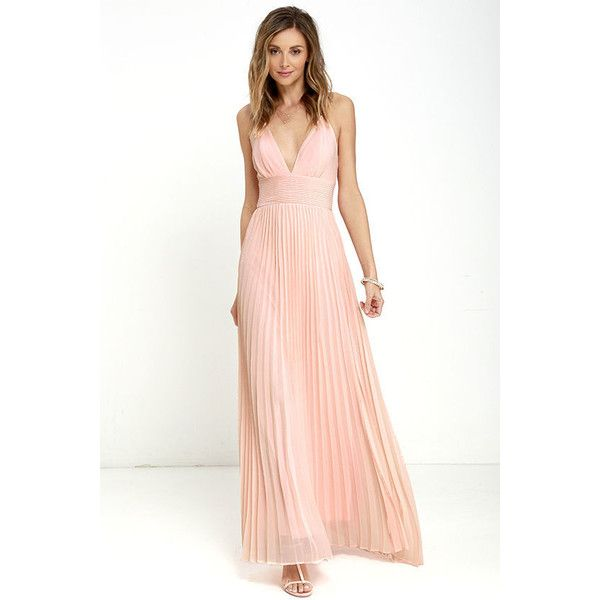 Lulus Depths of My Love Peach Maxi Dress ($78) ❤ liked on Polyvore featuring dresses, pink, white dress, pink maxi skirt, pink maxi dress, white fitted dress and maxi skirts