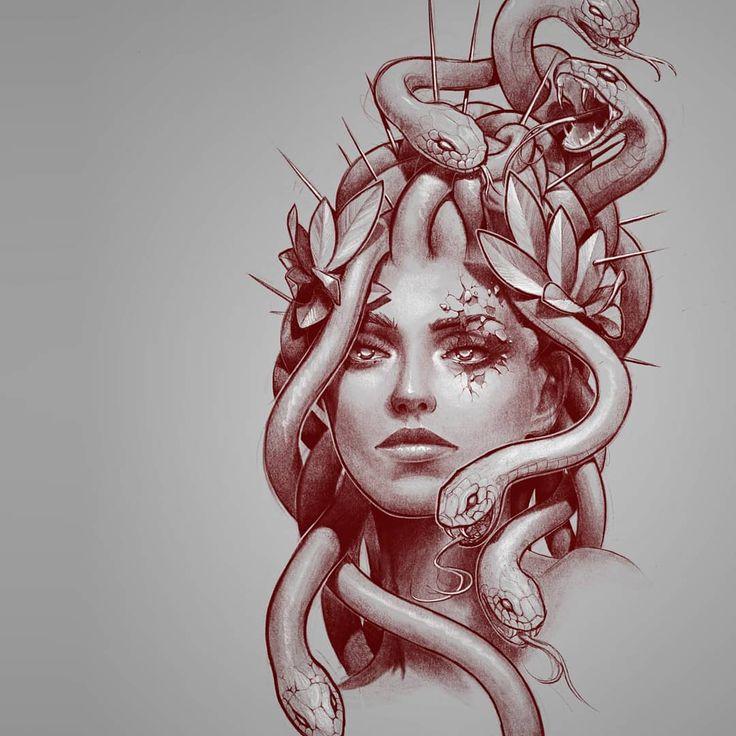 Medusa Gorgon Tätowierungsskizze