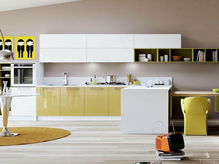 Кухня с акриловыми фасадами, с совмещенным обеденным столом