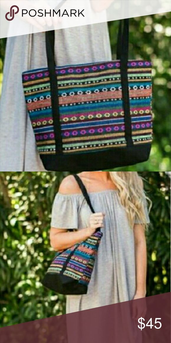 Boho Santa Cruz Beach Tote Boho Santa Cruz Beach Tote This colorful, Aztec-print oversized  beach bag is the perfect transitional piece from day to night. These are NWOT Retail items! All Sales are Final Per Poshmark. Please Read Description and Ask any and all Questions Prior to Purchase. Color may slightly vary due to different monitor settings. All transactions are photographed & video taped prior to shipment.Thank you! Bags Totes