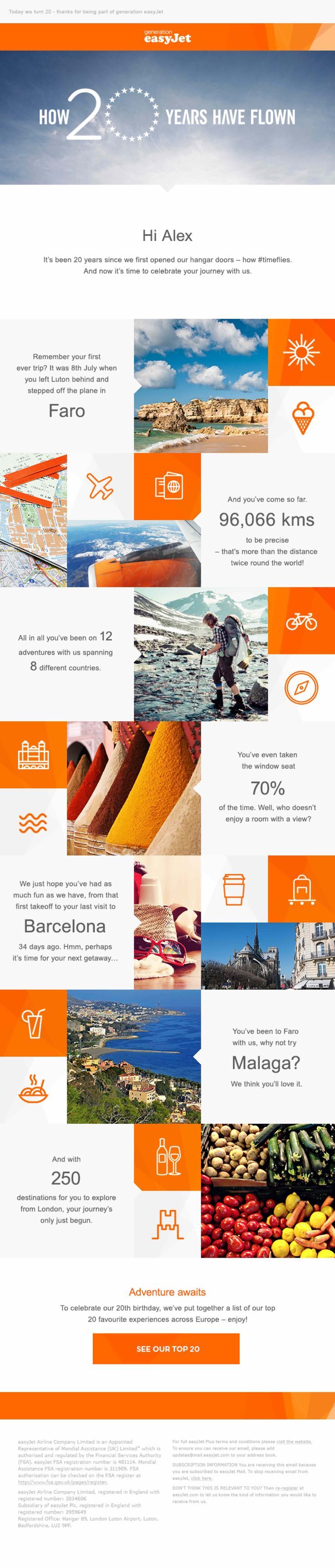 easyJet have used customer data to tell emotional anniversary stories via an eDM campaign. Entirely personalised emails were sent with dynamic copy, images and links to tell each customer's story from their first flight to their future flights. Emails were built using a series of 12 modules and open rates were over 100% more than the average easyJet newsletter – with 25% higher click-through rates.