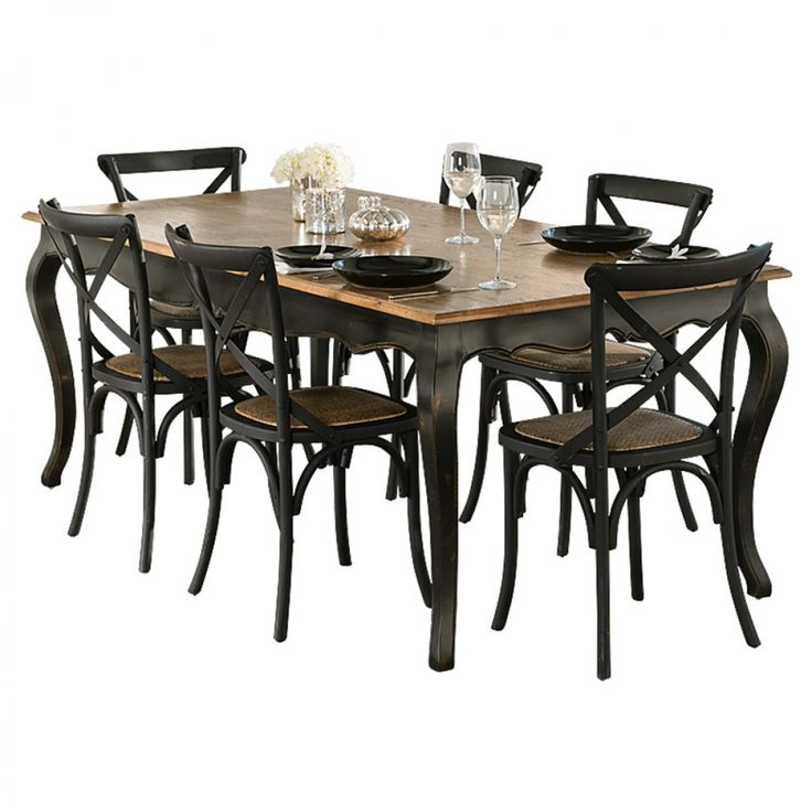 Provincial Oak Table Black With 6 Cross Back Chairs Package