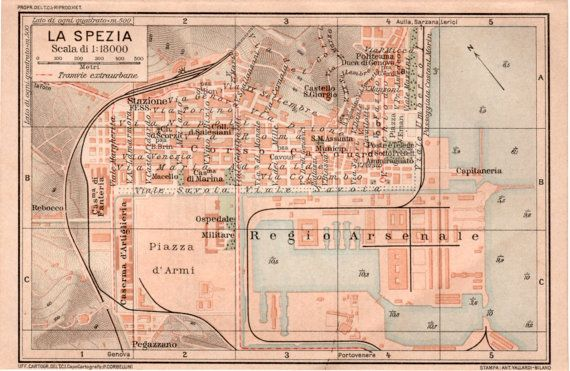 1916 La Spezia City Map Antique Map Vintage by Craftissimo on Etsy