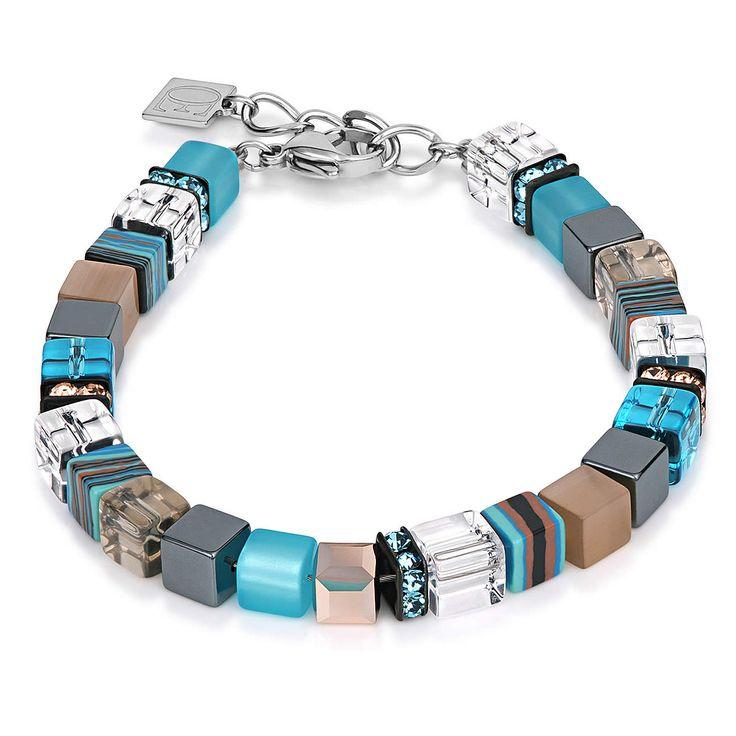 geo cube malachite bracelet, coeur de lion jewelry, aqua beige $115