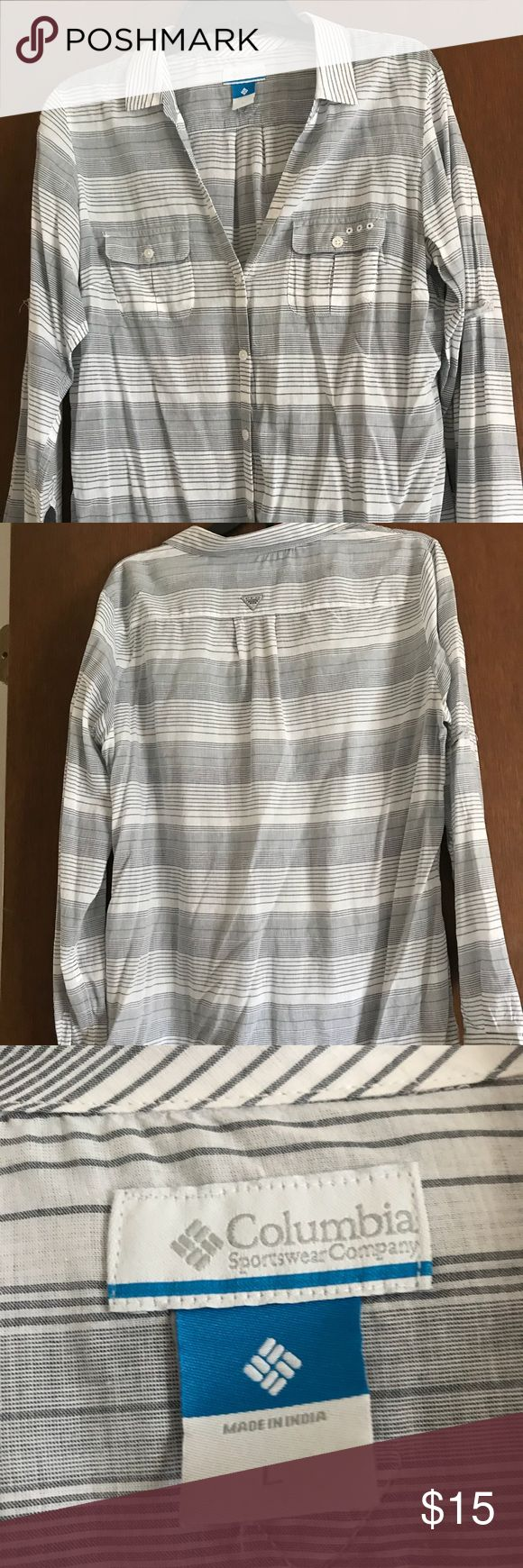 Columbia Women's PFG shirt.  Size large. Columbia Women's PFG large shirt.  Black and White.  Size large.  Great condition. Columbia Tops Blouses