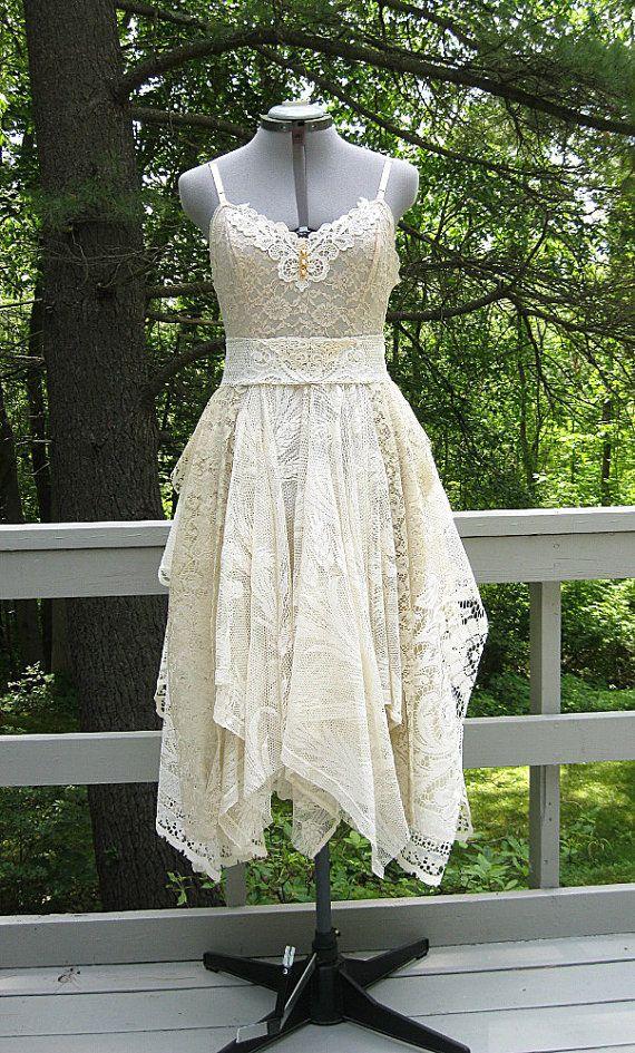 Tan and Ivory tattered dress, rag doll pixie dress, alternative wedding dress, formal dress, fairy fae dress, woodland, US size 10-12 Medium