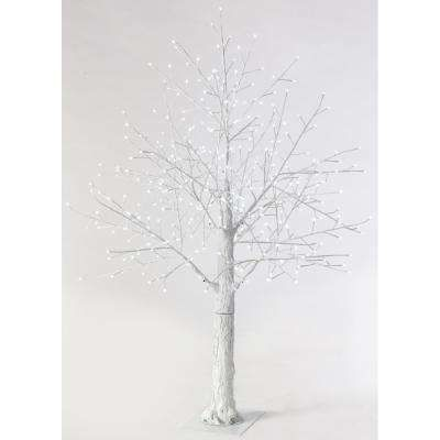 6 ft. Pre-Lit LED Snowy White Artificial Christmas Tree