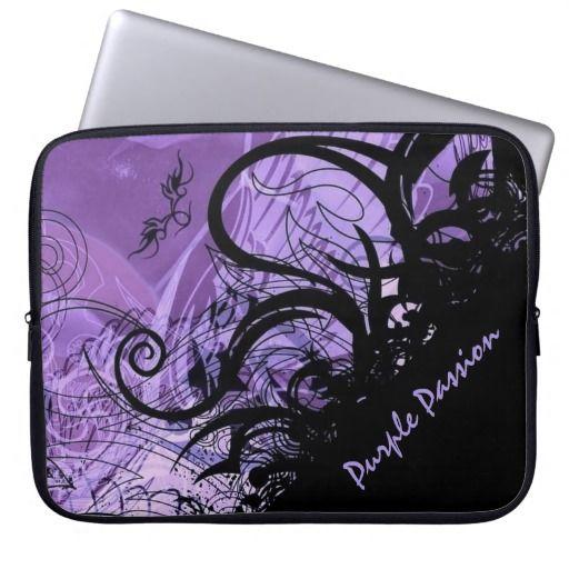 Black and Purple Goth Pattern Laptop Sleeve