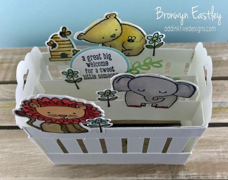 A Little Wild, Baby Crib, Pop-Up Card, #addinktivedesigns Bronwyn Eastley, Independent Stampin' Up! Demonstrator, Australia, Tutorial available for purchase
