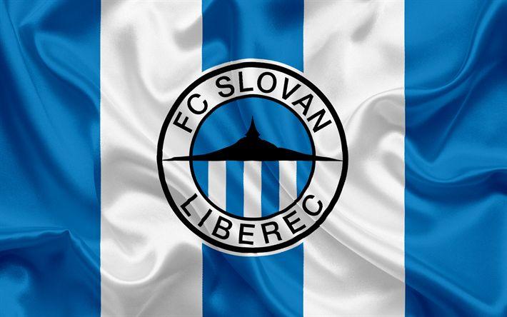 Descargar fondos de pantalla El FC Slovan Liberec, club de Fútbol, Liberec, República checa, el Slovan emblema, logotipo, azul, bandera de seda, checa el campeonato de fútbol