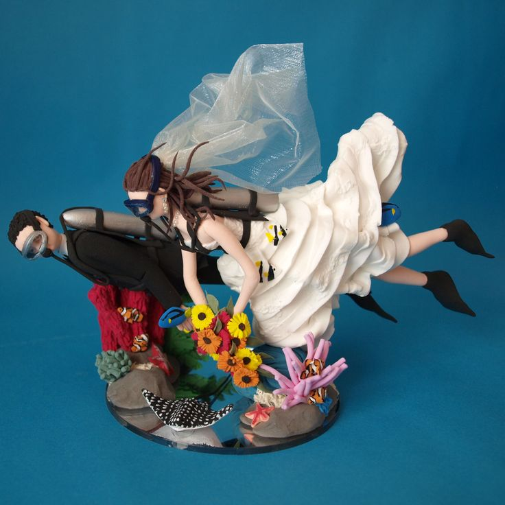 Scuba Bride And Groom Wedding Cake Topper Handmade Personalised