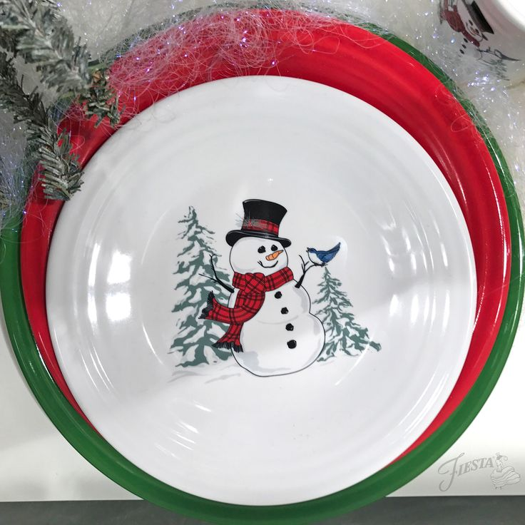 New for Christmas 2017: JollyFiesta® 'Snowmen'will bedecorating Luncheon Plates and Tapered Mugs this Christmas! | Fiesta Dinnerware, Always Festive