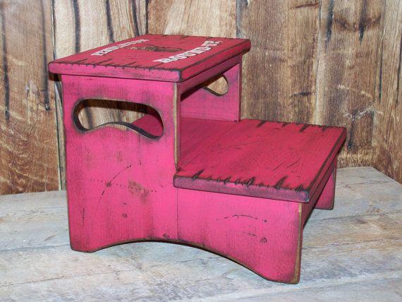 Two Step Stool kid's stool bathroom stool by WorkHorseFurniture