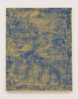 """Evan Nesbit """"Porosity (BLu/yLo)"""", 2014. Acrylic on bur"""