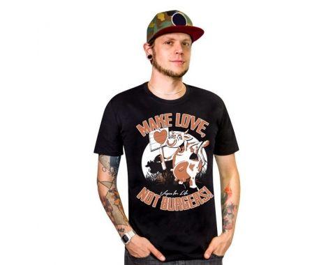 Koszulka 'MAKE LOVE, NOT BURGERS!' czarna