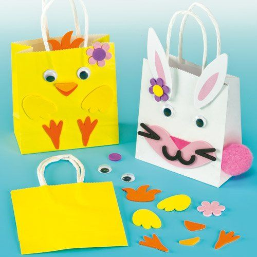 Easter Gift Bag Kits made from Strong Paper with Foam Pieces Pom Poms  Wiggle eyes to Decorate with Pack of 4 -- Click image for more details.