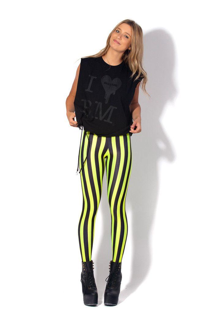 Beetlejuice Neon Yellow Leggings #BLACKMILK #BLACKMILKCLOTHING