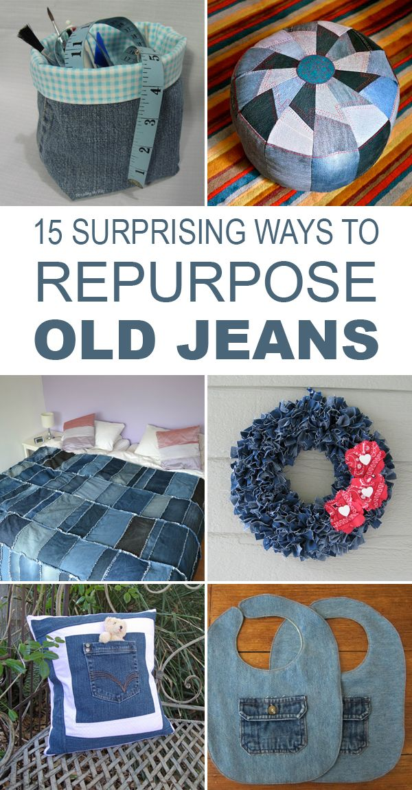 Here's a list of 15 wonderful crafts out of old jeans.