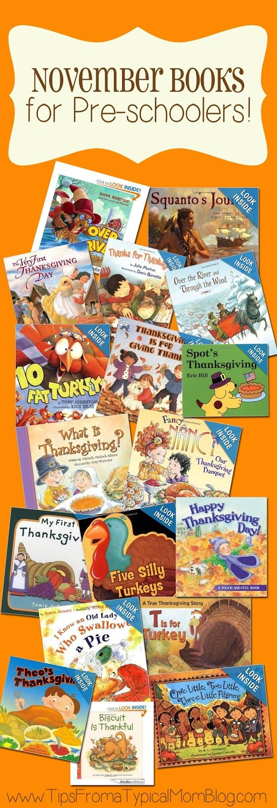 Thanksgiving book list for preschoolers!  I love the illustrations in these books, your kids will love them! #thanksgivingbooks