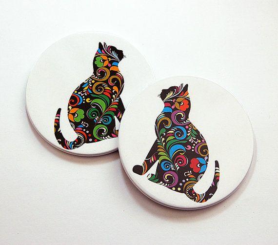 Regalo gato amante, prácticos de Costa del gato, bebida posavasos, posavasos, posavasos conjunto, menores de 10 años, Stocking Stuffer, ama los gatos, posavasos redondeos (5516)