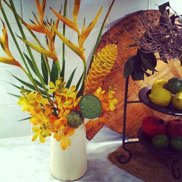 liquid gold floral arrangement for my kitchen