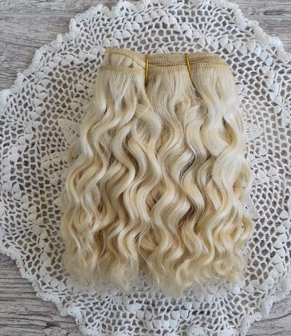 Weft doll hair mohair goat hair 1 m for waldorf doll wig custom Blythe wig natural Wool Doll Hair C