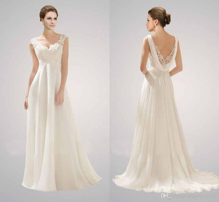 2015 Empire Beach Wedding Dresses Sexy V Neck Appliques Lace Beaded Backless A-Line Chiffon Maternity Bridal Gowns