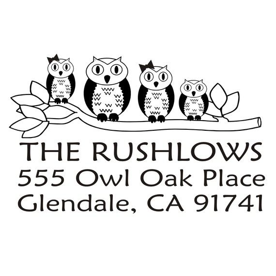 Cute owl family rubber stamp custom return by stampoutonline, $30.00
