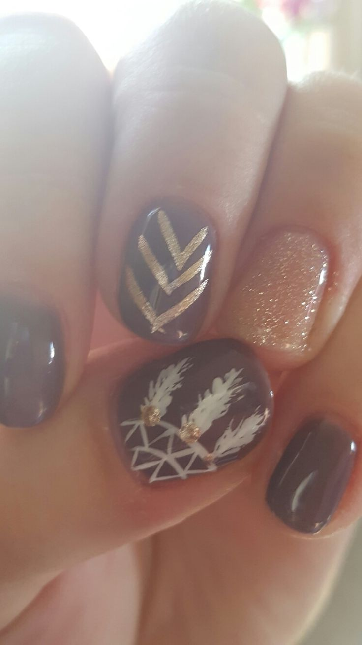 Fall nails- shellac, dream catcher                                                                                                                                                                                 More