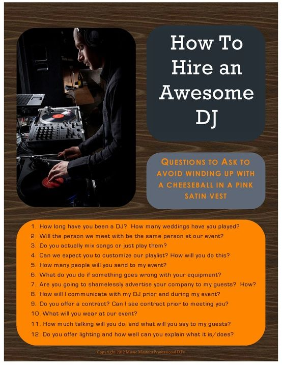 How to hire an awesome wedding DJ  (Posted by Yucaipa DJ: http://DJ.RevolutionWed.com)