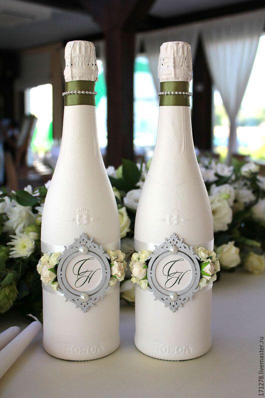 Свадебная бутылка своими руками видео