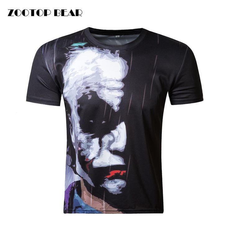 Zootopクマ新しいハーフフェイスジョーカー3d tシャツ面白いキャラクタージョーカーブランド服デザイン3d tシャツ夏スタイルtシャツトップ印刷