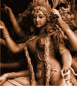 Kali, the great triple goddess of birth, sustenance and destruction from India.  This has always been my favorite Goddess, however, I misunderstood her for a very long time.  I also think that most westerners misunderstand because of movie depictions of her.