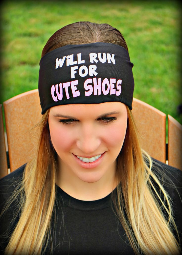 WILL RUN FOR CUTE SHOES- RAVEbandz SLOGANZ Exclusive Fashion Headbands - Non-Slip Wide Hippie Sports & Athletic Hair Bands