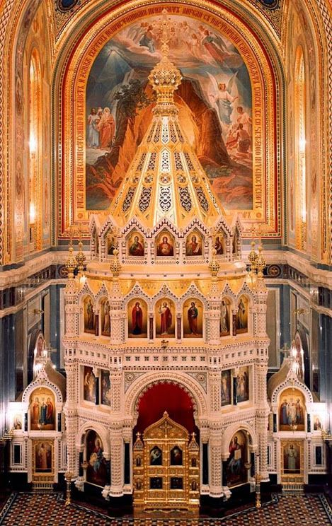 Interior of the Cathedral of Christ the Saviour in Moscow