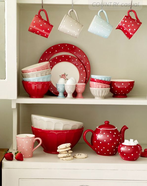 Red and white polka dotIdeas, Colors Combos, Polka Dots, Red, Polkadot, Kitchens Accessories, Blue Kitchens, White Dishes, The Dots