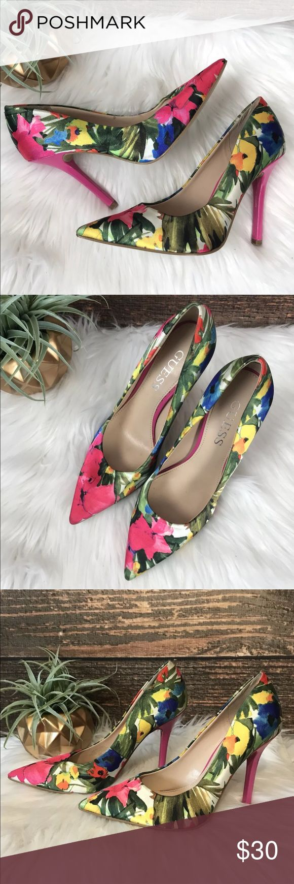 """Guess Neodan Floral Satin Pumps Guess Neodan5 Satin Floral Pumps Women's size 6 Pink patent 4"""" Heels Preowned condition One heel has some indents, minor scuff as seen in photos. Overall very good condition. Guess Shoes Heels"""