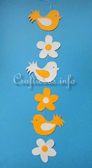 Paper Craft for Summer - Paper Birds and Flowers Window Garland