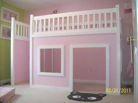 Need to convince Aaron that we need to build this. You can add a staircase on the side for kids who don't like ladders (Sophie, cough). Her room is small and we want to put a desk in there.