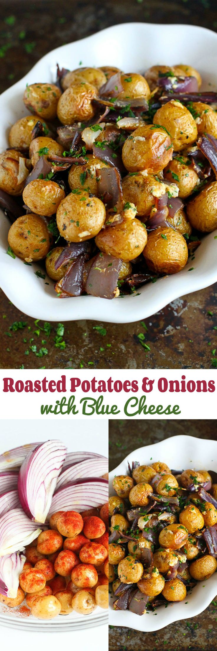 Roasted Potatoes and Onions with Blue Cheese…A side dish recipe that will steal the show! 135 calories and 4 Weight Watchers SmartPoints
