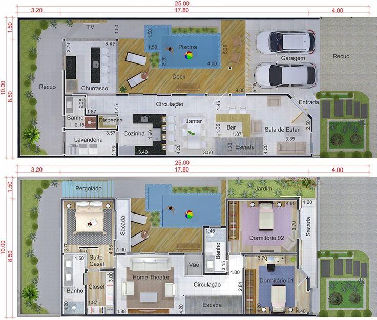 Projeto com fachada em madeira planta para terreno 10x25 - Casa con terreno ...
