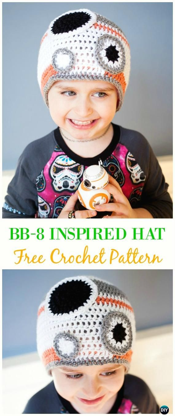 Crochet BB-8 Iinspired Hat Free Pattern  - Crochet Beanie Hat Free Patterns