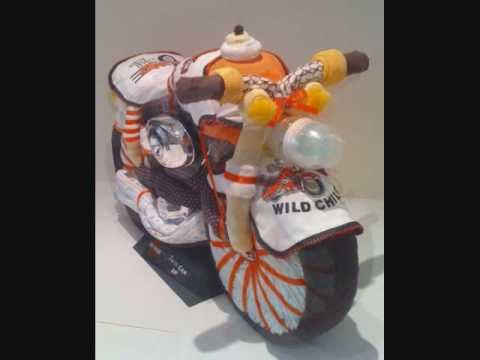 Unique diaper cakes, Baby shower gift ideas Harley Davidson motorcycle diaper…