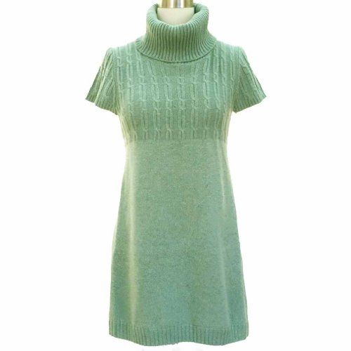 Light Mint Green Turtleneck Cable Knit Sweater Dress by dressessmart