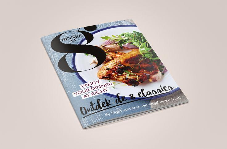 GRAND CAFÉ EIGHT. Staat bekend om haar luxe en overheerlijke maaltijden. Wij verzorgden de redactie en vormgeving van Eights nieuwe dinerkaart. Eight smakelijk!