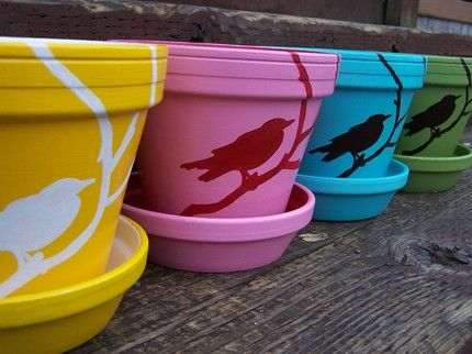 Things I Love : Product Reviews: Hand Painted Pots by SchwidleShop