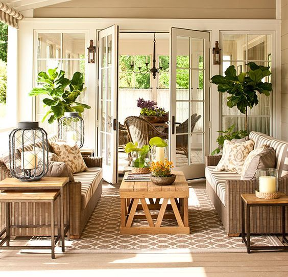 """Loads of tips for how to create an inviting outdoor space. Add a rug (or two). Nothing says """"this is a room"""" like an area rug. An area rug helps to ground and define a space. The design/style of the rug that you choose will go a long way toward pulling your outdoor room together."""