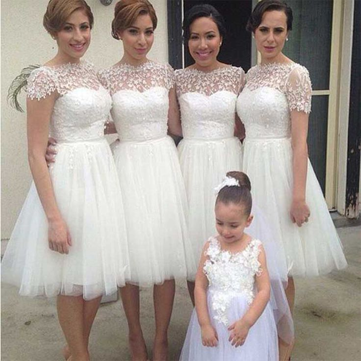 Find a Cute Short Ivory Bridesmaid Dresses With Sleeves Tulle Appliques Knee Length Bridesmaid Dress Beautiful Bridesmaid Gowns Online Shop For U !