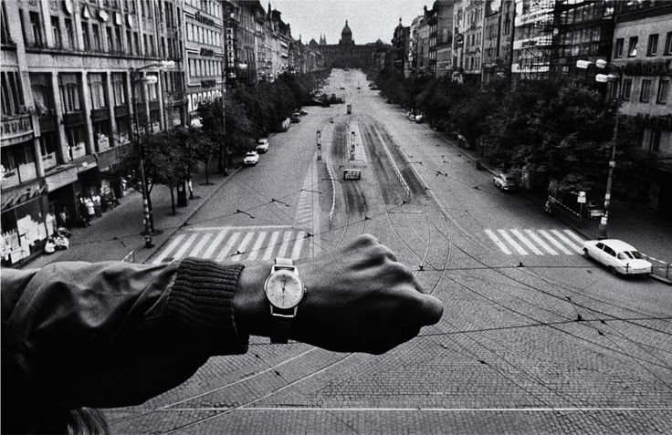 by Josef Koudelka - CZECHOSLOVAKIA. Prague. August 1968. Warsaw Pact troops invade Prague. In front of the Radio Headquarters