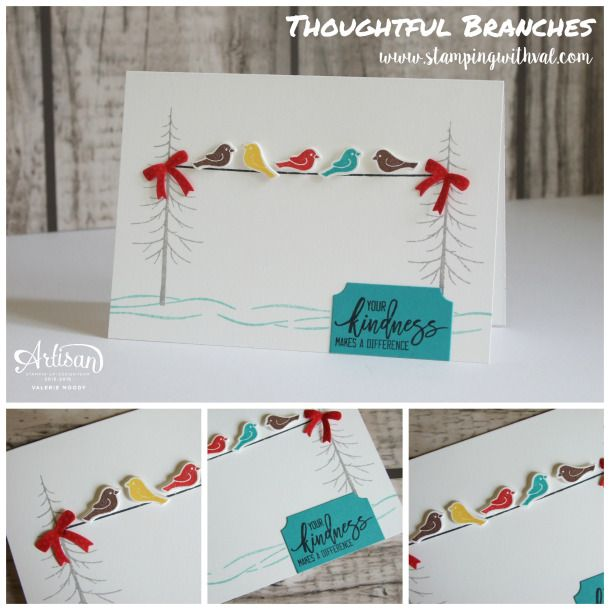 Stampin' Up! Thoughtful Branches card by Valerie Moody. Thoughtfiul Branches only available August 2016